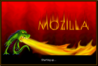 Startup screen of the Mozilla Application Suite for Mac OS 9 featuring the Mozilla mascot