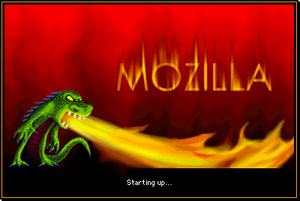 Mozilla Application Suite - Startup screen of the Mozilla Application Suite for Mac OS 9 featuring the Mozilla mascot