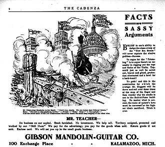 "Orville Gibson - 1908. Gibson ad that aggressively promoted the idea that his mandolins represented progress. It disparaged the older round-back mandolins as potato bugs, swept into the dead sea by the ""new era broom""."