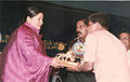 Ms. J. Jayalalithaa presenting an award to Shashank - World Tamil Conference, Tanjore, 1993.jpg
