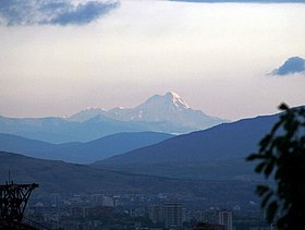 Mt. Kazbegi as seen from Tbilisi (Photo A. Muhranoff, 2011).jpg