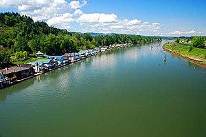 Willamette River - The Multnomah Channel from the Sauvie Island Bridge