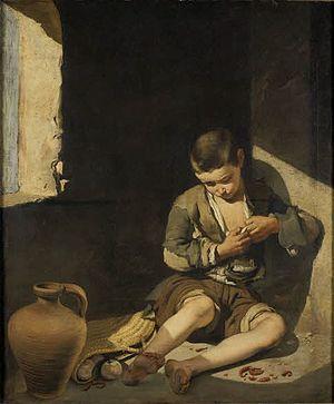 Español: Muchacho espulgándose o joven mendigo...