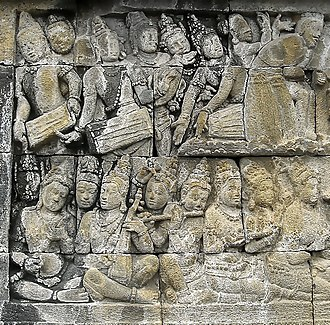 Gamelan - Musicians performing musical ensemble, bas-relief of Borobudur