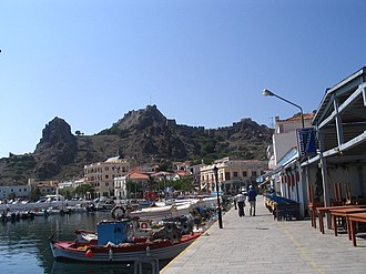 Myrina, Greece - View of the promenade and the fortress.