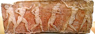 marble relief of Greek ball players or boxers