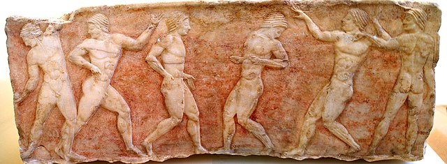 Greek ball players, possibly playing episkyros (c. 6th century BC) - Greek Episkyros (Ball Game)