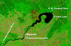 Nipawin - NASA satellite image of Tobin Lake