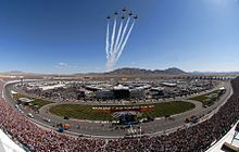 The U.S. Air Force Thunderbirds flying over the Las Vegas Motor Speedway before the race.