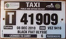 Example of a taxi license plate in Northern Ireland.