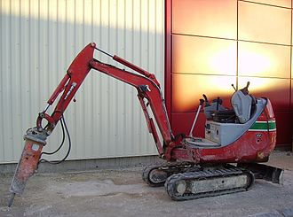 Compact excavator - A NPK breaker fitted to a Wacker Neuson compact excavator