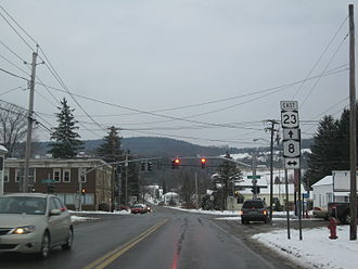 New York State Route 8 - NY 23 eastbound at NY 8 in South New Berlin