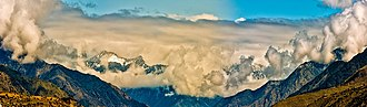Kunar Province - Panorama picture of a mountain range in Afghanistan, Naray