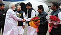 Narendra Modi being received by the Chief Minister of Maharashtra, Shri Prithviraj Chavan, on his arrival, at Mumbai Airport on July 21, 2014. The Governor of Maharashtra, Shri K. Sankaranarayanan is also seen.jpg