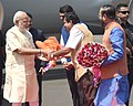 Narendra Modi being welcomed by the Governor of Maharashtra, Shri C. Vidyasagar Rao, the Union Minister for Road Transport & Highways and Shipping, Shri Nitin Gadkari and the Chief Minister of Maharashtra (2).jpg