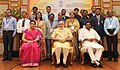 Narendra Modi in a group photograph at an informal interaction with the National Awardee Teachers, on eve of the Teachers' Day, in New Delhi. The Union Minister for Human Resource Development (7).jpg