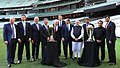 Narendra Modi with the Prime Minister of Australia, Mr. Tony Abbott, Shri Sunil Gavaskar, Shri Kapil Dev and Shri V.V.S. Laxman at the Civic Reception hosted by the Australian PM, at MCG, Australia on November 18, 2014.jpg