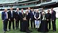 Narendra Modi with the Prime Minister of Australia, Mr. Tony Abbott, Shri Sunil Gavaskar, Shri Kapil Dev and Shri V.V.S. Laxman at the Civic Reception hosted by the Australian PM, at MCG, Australia on November 18, 2014.jpg
