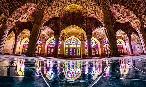 The Nasir ol Molk Mosque , also known as the Pink Mosque, is a traditional mosque in Shiraz, Iran. It is located at the district of Gowad-e-Arabān, near Shāh Chérāgh Mosque.