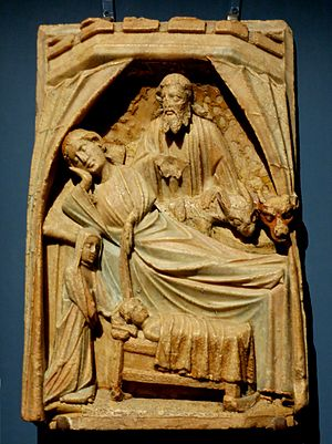 Nottingham alabaster - Nativity panel, ca 1400, using a composition previously found in French ivories. H. 37.5 cm (14 ¾ in.), W. 26 cm (10 in.), D. 4.5 cm (1 ¾ in.)