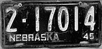 Nebraska license plate 1945 from the private collection of Jim Smith.jpg
