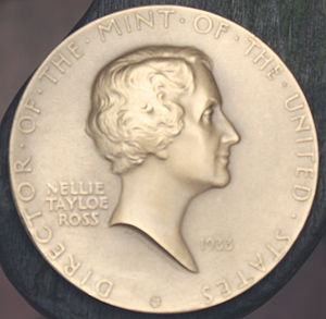 Franklin half dollar - Nellie Tayloe Ross, seen in this medal by Sinnock, favored placing Franklin on the half dollar.
