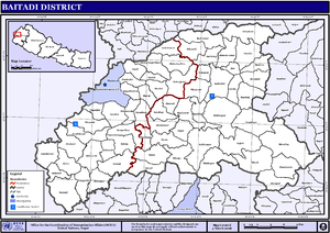 Baitadi District - Map of the VDC/s and Municipalities in Baitadi District