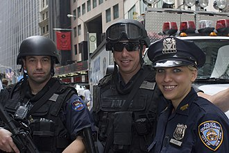 The New York Police Department (NYPD) represents the largest police force in the United States, with an authorized uniformed police officer strength of 38,442 as of 2018. New York Police Department officers.jpg