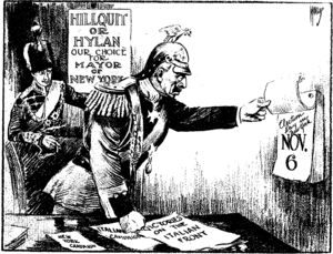 "New York City mayoral election, 1917 - ""The New Western Front"", a Sunday New York Times cartoon of November 4th, 1917, implying that German enemy rulers favor Mayoral candidates Morris Hillquit and John F. Hylan on Election Day two days later. The caption reads, Crown Prince: ""Any more victories, Papa?"" - Kaiser (Wilhelm II): ""I can't tell until Tuesday."""