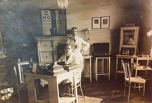 Nicolae Blatt in his medical office in Tirgu Mures, in the 1920s