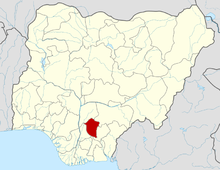 Nsukka is located in Enugu State which is shown here in red.