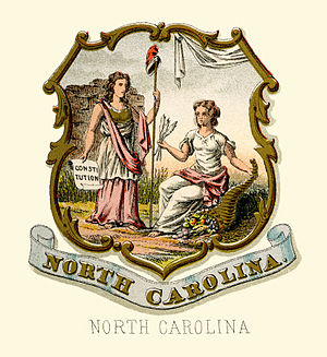 Seal of North Carolina - Historical coat of arms (illustrated, 1876)