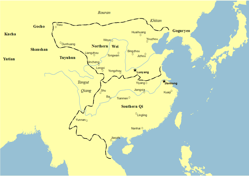 Location of Southern Qi