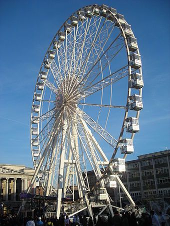 Ferris wheel in Old Market Square Nottingham Market Square Ferris Wheel.JPG