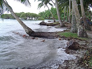 High tide at Nukutoa island, Takuu Atoll, Papu...