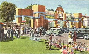 Great New York State Fair - Postcard showing the New York State Exposition's main entrance in the 1940s.