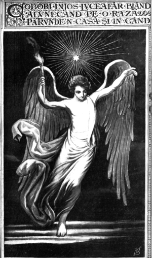 Luceafărul (poem) - Octavian Smigelschi's vision of the Morning Star, with lyrics from the 13th stanza; 1904 print in the eponymous magazine