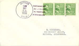 Las Animas County, Colorado - Philatelic cover postmarked Officer, Colorado on the last day of service. Mail from this discontinued post office was then handled  at Villegreen, Colorado, now also a discontinued post office.