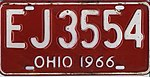 Ohio 1966 license plate - Number EJ3554.jpg