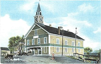 Weymouth, Massachusetts - First Weymouth Town Hall. It was built 1852 and destroyed by fire in 1914.
