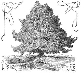 "Líf and Lífþrasir - The world tree Yggdrasil. At the foot of the tree is a well, which is presumably Urðarbrunnr. No caption or title provided in the work, but the illustration appears in a section of Grímnismál labeled ""Om Yggdrasil"" (Danish: ""about (or ""around"", depending on context) Yggdrasil"")."