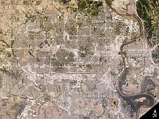 Satellite photo showing Omaha and Council Bluffs, Iowa