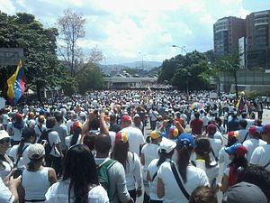Leopoldo López - A protest in Las Mercedes, Caracas shortly after López was arrested