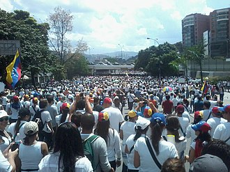 Leopoldo López - A protest in Las Mercedes, Caracas shortly after López was arrested