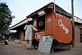 Orange phone booth, Central African Republic, March 2009 (8406177946).jpg