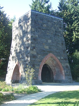 Lake Oswego, Oregon - Restored remains of the 1866 Oregon Iron Company furnace, George Rogers Park.