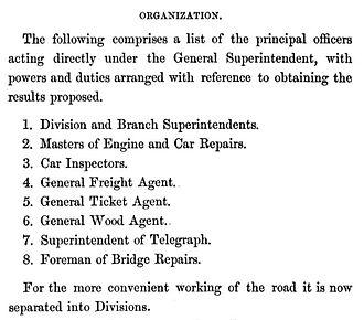 Daniel McCallum - Organization scheme as pictured by McCallum, 1856