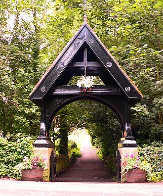 Ormesby - The oak lych-gate to St Cuthbert's churchyard, Ormesby, Redcar and Cleveland.
