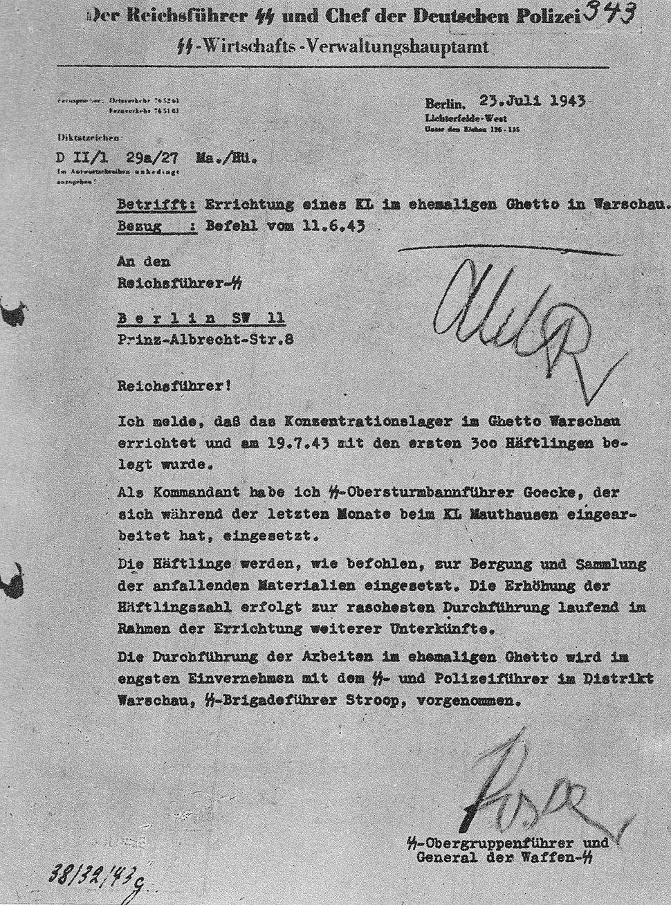 Oswald Pohl KL Warschau 1943