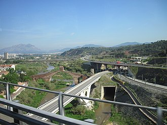 Grade separation - Seven various overpasses for grade separation in Spain near Barcelona
